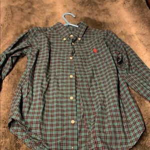 Boys green plaid long sleeve shirt